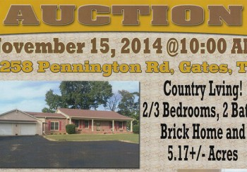 AUCTION – November 15, 2014 @ 10AM
